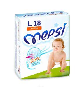 Детские подгузники «MEPSI»®* размер: L (9-16кг) 18 шт/уп