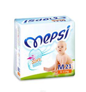 Детские подгузники «MEPSI»®* размер: M (6-11кг) 21 шт/уп