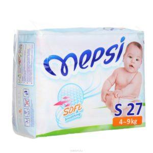 Детские подгузники «MEPSI»®* размер: S (4-9кг) 27 шт/уп