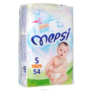 Детские подгузники «MEPSI»®* размер: S (4-9кг)  54 шт/уп