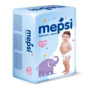 Детские подгузники-трусики Mepsi размер XL (12-22 кг) 38 шт.